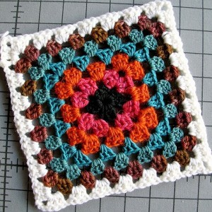A crocheted granny square.