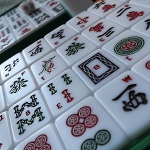 A close up of mahjong tiles on a table