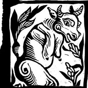 A woodcut print of a cow and plants