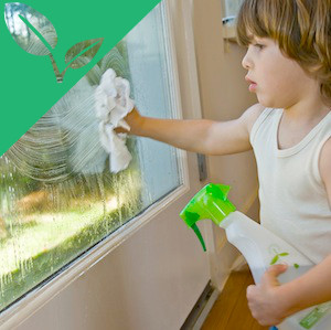 A child cleaning a window with spray from a green bottle