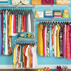 A well-ordered, colourful wardrobe