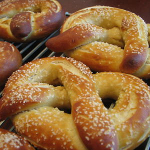 Golden pretzels fresh from the oven