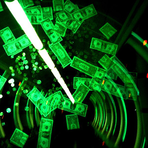 Dollar notes spiralling in a black and green tunnel