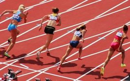 Sprinters starting the 100m hurdles for the women's heptathalon in the London Olympics 2012