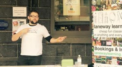 Mark at standing outside the Laneway Learning Science Spectacular