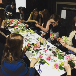 A group making flower crowns