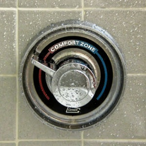 A shower tap set to a temperature outside the 'comfort zone'