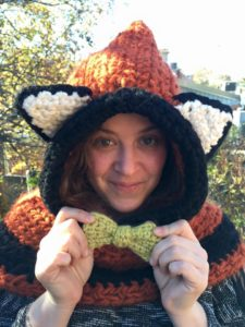 Maria in a crocheted fox hood