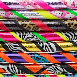 Colourful, handmade hula hoops.