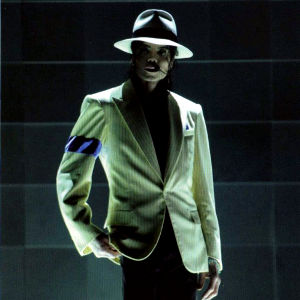 A waxwork of Micheal Jackson, dressed in his Smooth Criminal costume.