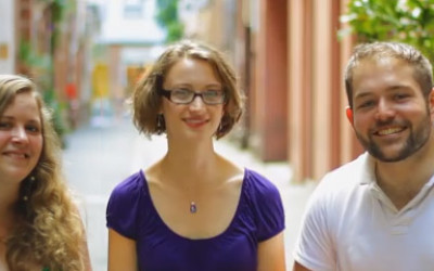 Maria, MarkLucie and Mark, looking very happy in a Melbourne laneway
