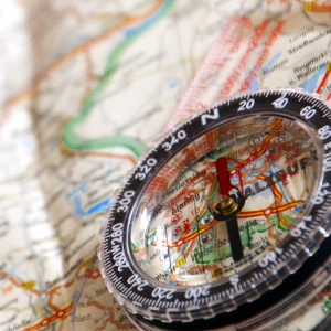 A compass on a topographic map