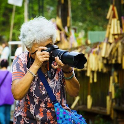 retired person enjoying photography
