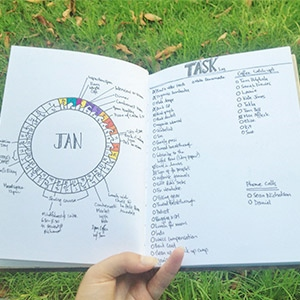 A bullet journal showing graphical and listed options for journaling