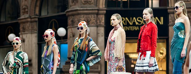 Models in Milan, posing in front of a store