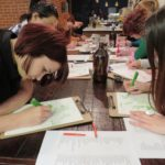 Students at a drawing class.