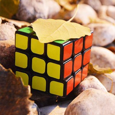 A completed Rubik's Cube sat on some pebbles with a leaf on top