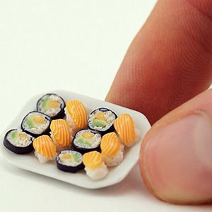 Miniature sushi made out of polymer clay