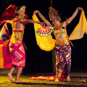Indonesian dancers in colourful costumes