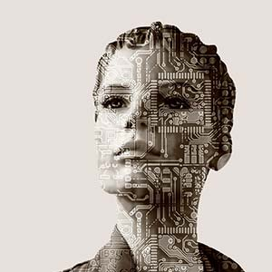 A CGI woman's face with circuit board patterns across it