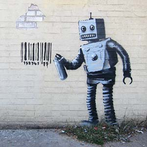 A Banksy image of a robot spray painting a barcode onto a wall