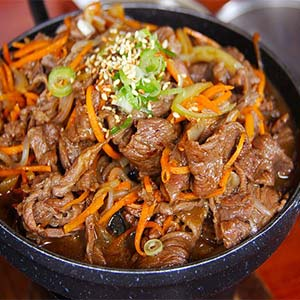 A dish of Korean-style pork.