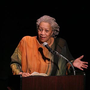 Toni Morisson, American novelist, telling a story to an audience