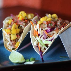 Two delicious looking tacos.