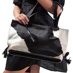 A close-up of a trendy handbag.