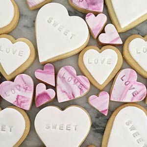 Decorated heart-shaped cookies.
