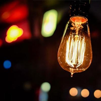 A glowing lightbulb.