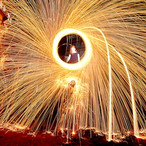 light painting showing women and steel wool sparks