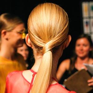 A classy, sleek ponytail.