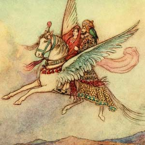 Two people riding a flying horse.
