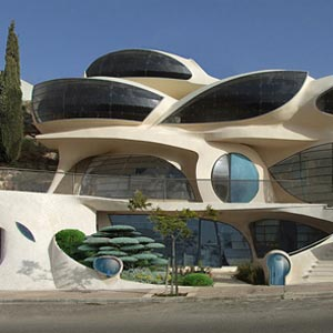 A futuristic-looking house.