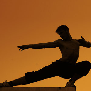A person in a martial arts pose, outlined against an orange sky.