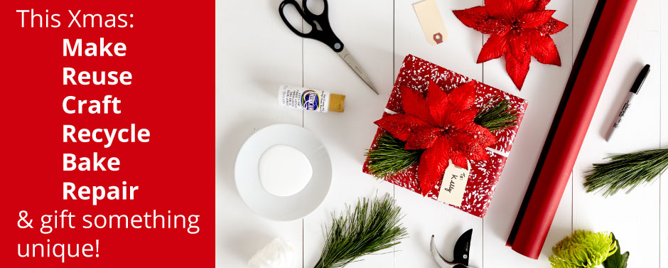 diy christmas gifts showing red gift and tools to make it