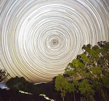 Star trails in the night sky.