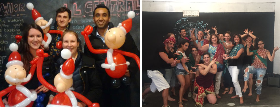 Two groups enjoying Christmas parties: making Father Christmas balloon art and Bollywood dancing.