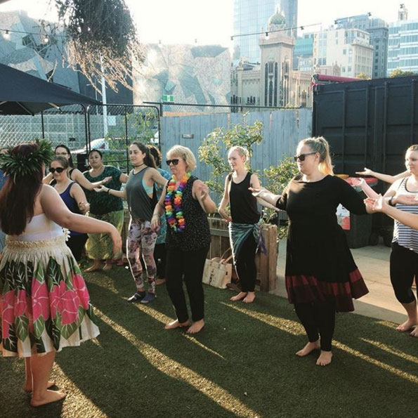 A Hawaiian hula dancing class.