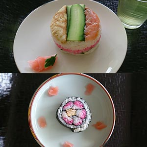 Two types of Japanese sushi: roll and Oshizushi.