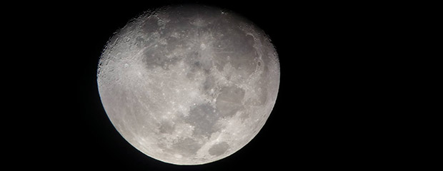 The moon, taken through a 10 inch telescope at a class.