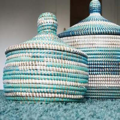 Blue and white raffia baskets.