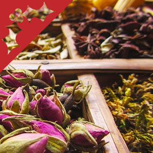 Flowers, petals and other natural perfume ingredients.