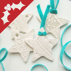 Clay Christmas ornaments and decorations.