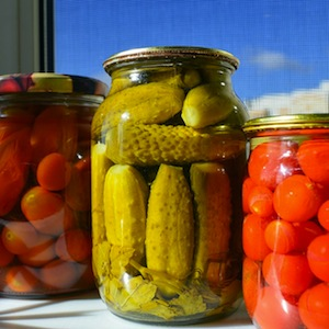 Canned Tomatoes Pickles Cucumbers Glass Jars Billet