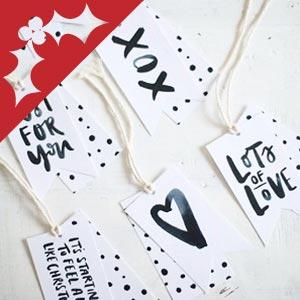 DIY calligraphy Christmas gift tags.