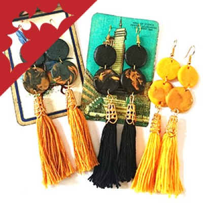 Tassel earrings in three different colours.