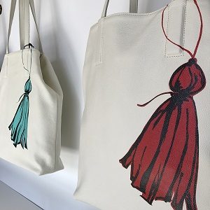 painted leather totes