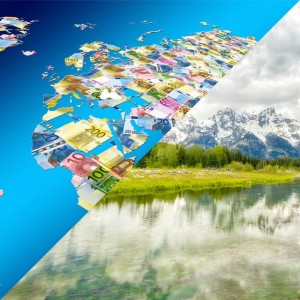 collage with world map and currencies vs nature with rivers and mountains